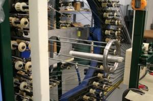 Braiding machine in use.