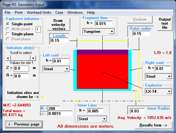 FWAC's graphical user interface makes it easy to set up shaped charges for analysis.